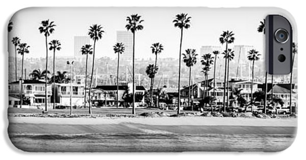 White House iPhone Cases - Newport Beach Skyline Panorama Photo in Black and White iPhone Case by Paul Velgos