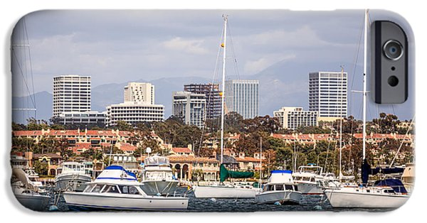 Sailboat Photos iPhone Cases - Newport Beach Skyline  iPhone Case by Paul Velgos