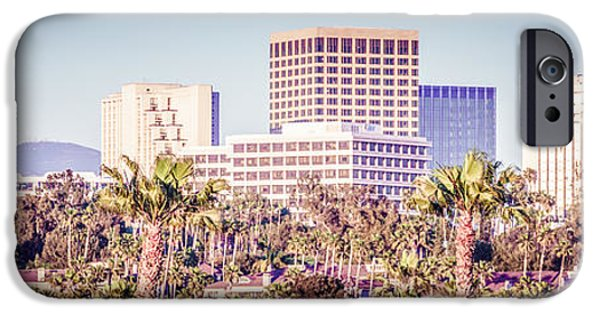 Business iPhone Cases - Newport Beach Skyline Retro Panorama Photo iPhone Case by Paul Velgos