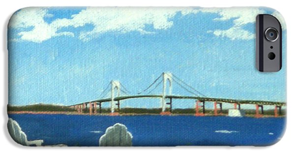Recently Sold -  - Ocean Sunset iPhone Cases - Newport Bridge Newport Rhode Island iPhone Case by Christine Hopkins
