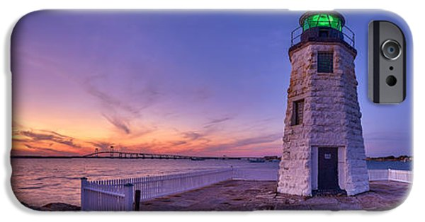 New England Lighthouse iPhone Cases - Newport Harbor Light at Sunset iPhone Case by Scott Lynde