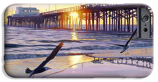 Seagull Paintings iPhone Cases - Newport Pier Sunset iPhone Case by Steve Simon