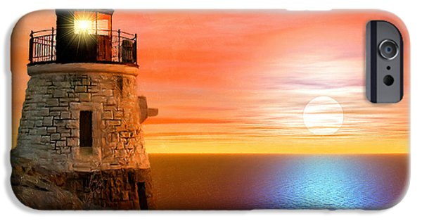 New England Lighthouse iPhone Cases - Newports Gem iPhone Case by Lourry Legarde