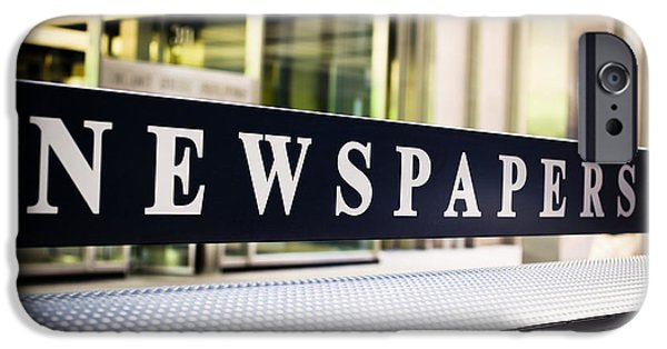 Operating iPhone Cases - Newspapers Stand Sign in Chicago iPhone Case by Paul Velgos