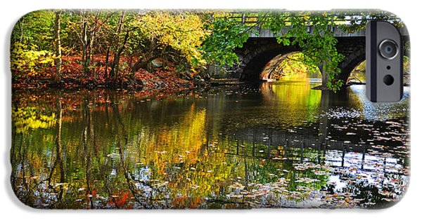 Oxford. Oxford Ma. Massachusetts iPhone Cases - Newton Upper Falls Autumn Foliage iPhone Case by Toby McGuire