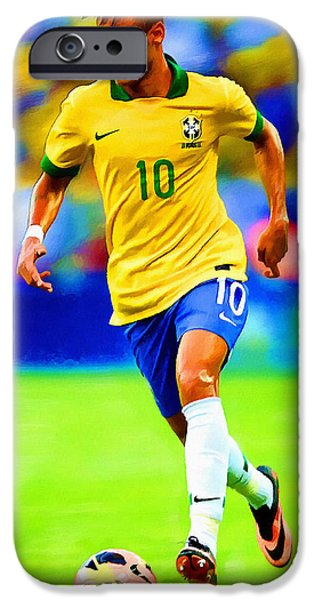 Nike iPhone Cases - Neymar Soccer Football Art Portrait Painting iPhone Case by Andres Ramos