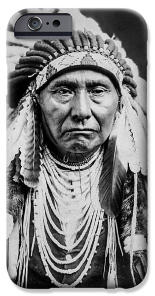 Sheriff iPhone Cases - Nez Perce Indian man circa 1903 iPhone Case by Aged Pixel