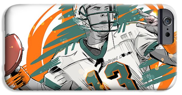 Dan Marino iPhone Cases - NFL Legends Dan Marino Miami Dolphins iPhone Case by Akyanyme