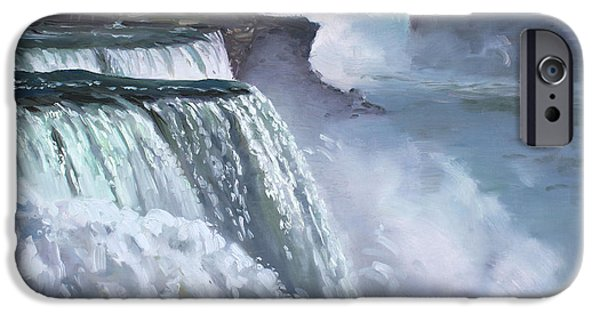 Canada Paintings iPhone Cases - Niagara American Falls iPhone Case by Ylli Haruni