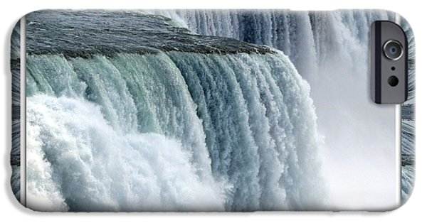 Artists4god iPhone Cases - Niagara Falls American side closeup with warp frame iPhone Case by Rose Santuci-Sofranko