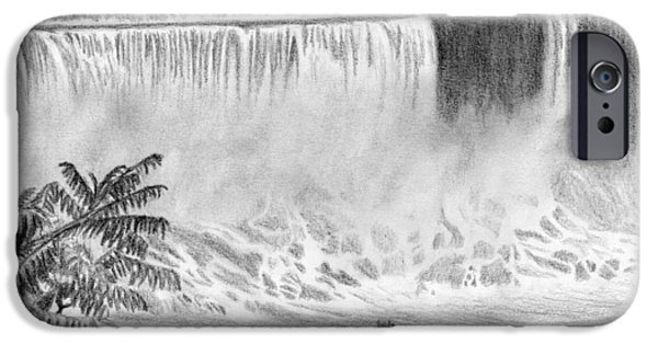 Mist Drawings iPhone Cases - Niagara Falls and the Maid of the Mist iPhone Case by Kayleigh Semeniuk