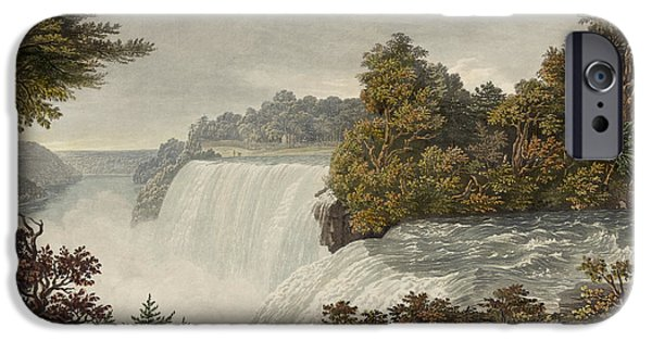 Rocks Drawings iPhone Cases - Niagara Falls Circa 1829 iPhone Case by Aged Pixel