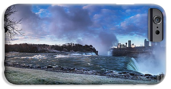 Wintertime iPhone Cases - Niagara Falls dramatic panoramic scenery iPhone Case by Oleksiy Maksymenko