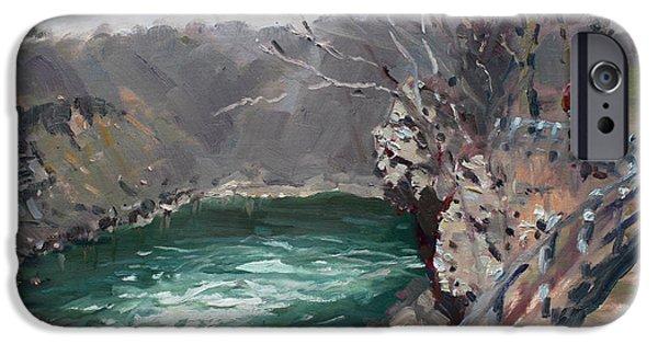 Border iPhone Cases - Niagara Falls Gorge iPhone Case by Ylli Haruni
