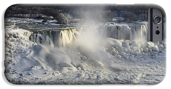 Destination Pyrography iPhone Cases - Niagara Falls in Winter iPhone Case by Yoshiko Wootten