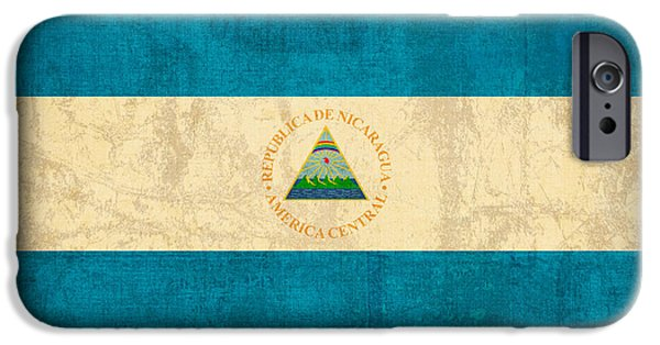 Nation iPhone Cases - Nicaragua Flag Vintage Distressed Finish iPhone Case by Design Turnpike