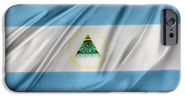 Patriotism iPhone Cases - Nicaraguan flag iPhone Case by Les Cunliffe