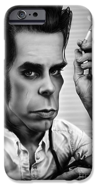 Caricature Digital Art iPhone Cases - Nick Cave iPhone Case by Andre Koekemoer