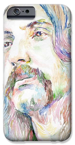 Mick Jagger Paintings iPhone Cases - Nick Mason iPhone Case by Marina Sotiriou