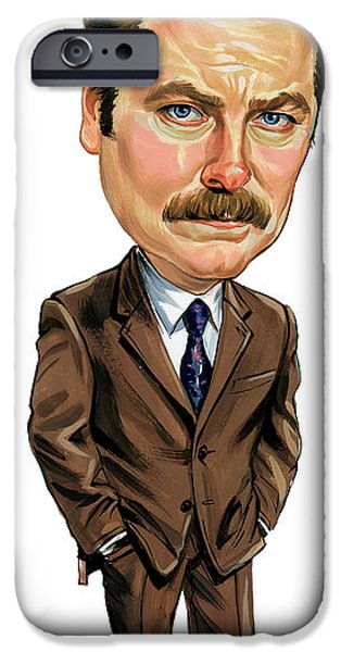 Indiana Art iPhone Cases - Nick Offerman as Ron Swanson iPhone Case by Art