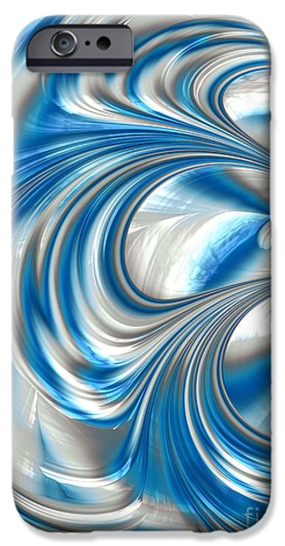 Chaos iPhone Cases - Nickel Blue Abstract iPhone Case by John Edwards