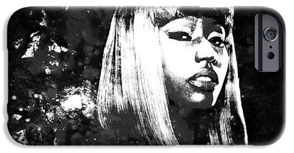 Lil Wayne Paintings iPhone Cases - Nicki Minaj 4x iPhone Case by Brian Reaves