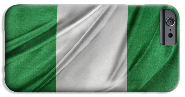 Patriotism iPhone Cases - Nigerian flag iPhone Case by Les Cunliffe