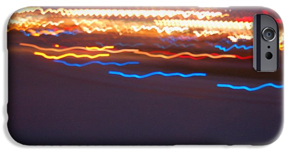 Abstract Digital Light Trails iPhone Cases - Night Abstract IV iPhone Case by Suzanne Gaff