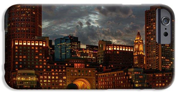 Newengland iPhone Cases - Night at Boston Harbor iPhone Case by Ludmila Nayvelt