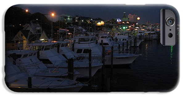 Boat iPhone Cases - Night at Destin Harbor iPhone Case by Wendy Durbin