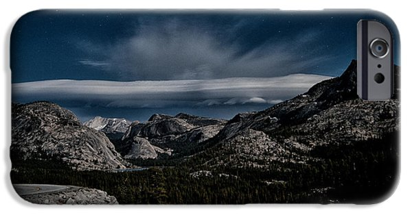 Mountain Road iPhone Cases - Night at Olmstead Point iPhone Case by Cat Connor