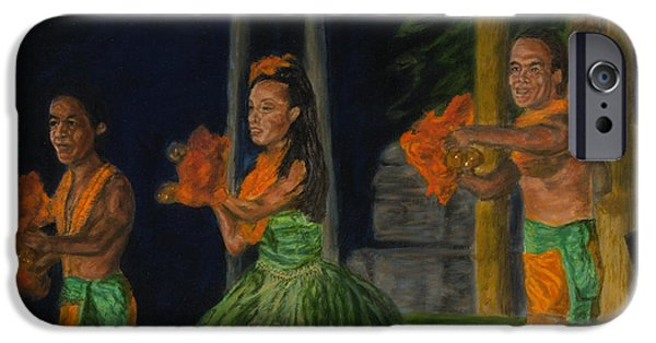 Michael Paintings iPhone Cases - Night at the Luau iPhone Case by Michael Allen Wolfe