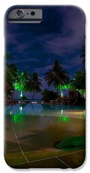 Night at Tropical Resort 1 iPhone Case by Jenny Rainbow