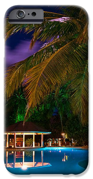 Night at Tropical Resort iPhone Case by Jenny Rainbow