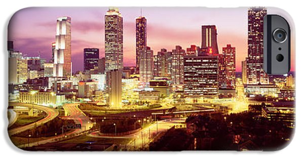 Ga iPhone Cases - Night, Atlanta, Georgia, Usa iPhone Case by Panoramic Images