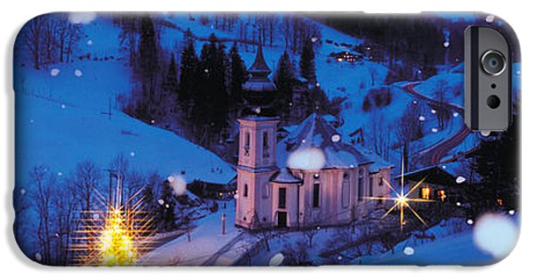 Snowy Night Photographs iPhone Cases - Night Bavaria Maria Gern Germany iPhone Case by Panoramic Images