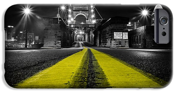 Selective Color iPhone Cases - Night Bridge iPhone Case by Keith Allen