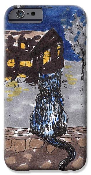 Contemplative Drawings iPhone Cases - Night Cat iPhone Case by Regina Valluzzi