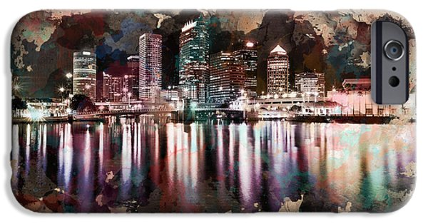 City Scape Digital Art iPhone Cases - Night City Reflections Watercolor Painting iPhone Case by Georgeta Blanaru