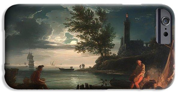 Sea Moon Full Moon Paintings iPhone Cases - Night iPhone Case by Claude Venet