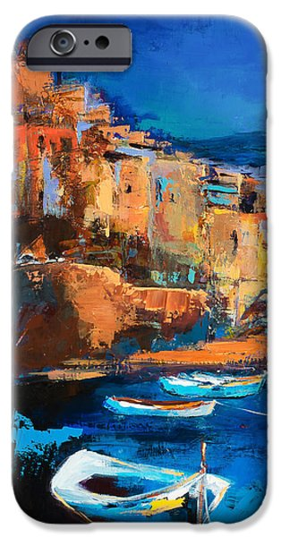 Abstract Seascape iPhone Cases - Night Colors Over Riomaggiore - Cinque Terre iPhone Case by Elise Palmigiani