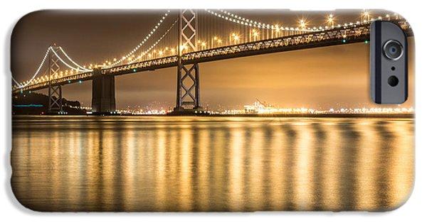 Bay Bridge iPhone Cases - Night Descending On The Bay Bridge iPhone Case by Suzanne Luft