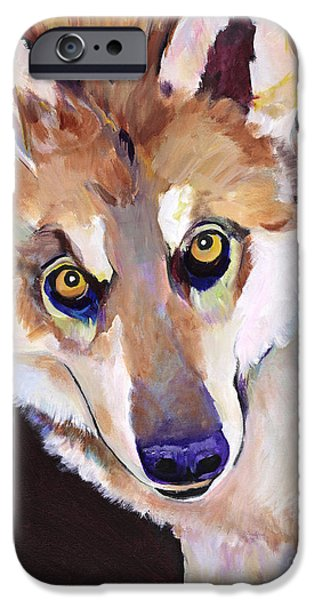 Wolf Photographs iPhone Cases - Night Eyes iPhone Case by Pat Saunders-White