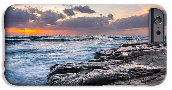 La Jolla Surfers iPhone Cases - Night Falls iPhone Case by Peter Tellone