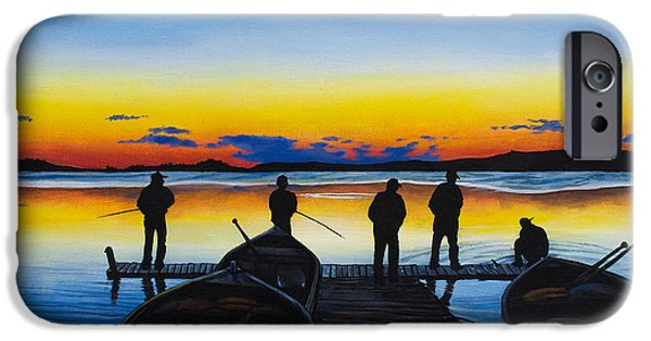 Walleye iPhone Cases - Night Fishing iPhone Case by Aaron Spong