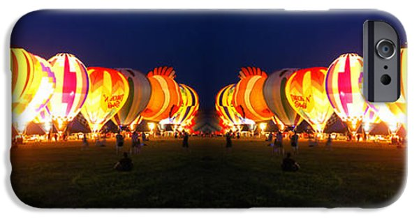 Hot Air Balloon iPhone Cases - Night Glow Hot Air Balloons Mirror Image iPhone Case by Thomas Woolworth