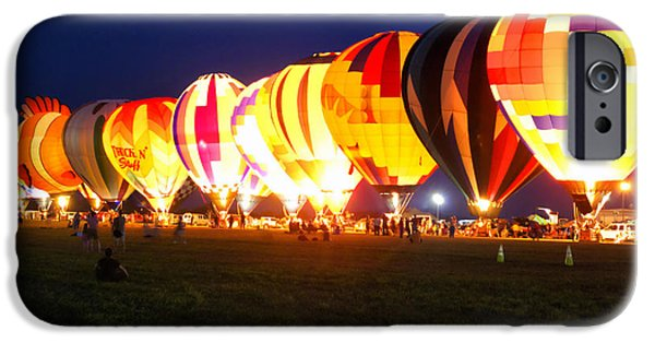 Central Il iPhone Cases - Night Glow Hot Air Balloons iPhone Case by Thomas Woolworth