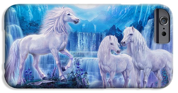 Mythical iPhone Cases - Night Horses iPhone Case by Jan Patrik Krasny