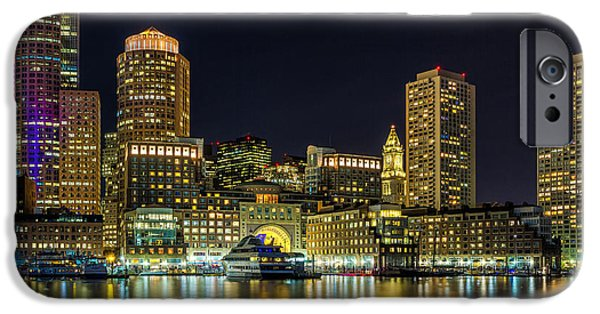 City. Boston iPhone Cases - Night in Boston Harbor II iPhone Case by Paul Tomlin