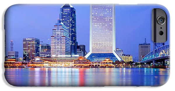 St. Johns River iPhone Cases - Night, Jacksonville, Florida, Usa iPhone Case by Panoramic Images